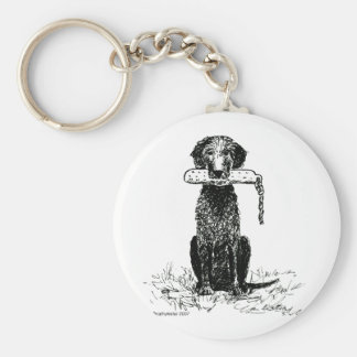 Curly Coated Retriever with Bumper Keychain