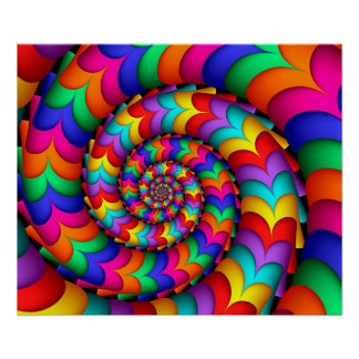 Curly Coil Rainbow Spiral Poster