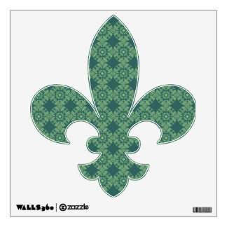 Curly Cute Flower Pattern - Shades of Green Wall Graphic