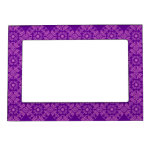 Curly Cute Flowers - Pink on Purple Picture Frame Magnets