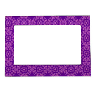 Curly Cute Flowers - Pink on Purple Magnetic Picture Frame