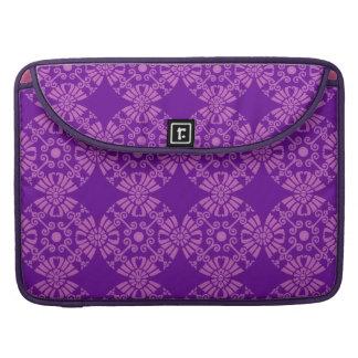 Curly Cute Flowers - Pink on Purple Sleeve For MacBooks