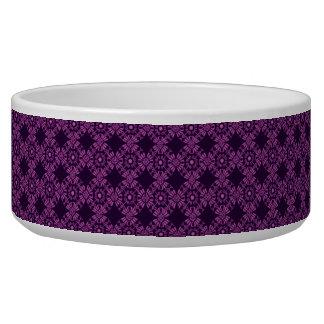 Curly Cute Flowers - Purple on Black Pet Bowls