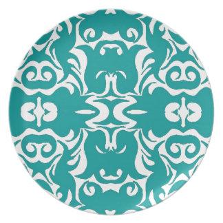 Curly Damask Graphic Art Designer Wall Decor Aqua Plates