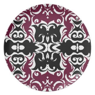 Curly Damask Graphic Art Designer Wall Decor Grape Plates