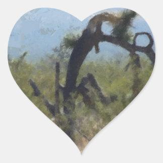 Curly Desert Tree Heart Sticker