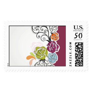 Curly Floral Abstract Design Postage