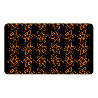 Curly Flower Pattern - Amber on Black Double-Sided Standard Business Cards (Pack Of 100)