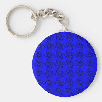 Curly Flower Pattern - Black on Blue Key Chain