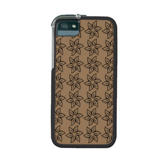 Curly Flower Pattern - Black on Pale Brown iPhone 5/5S Case