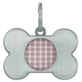 Curly Flower Pattern - Black on Pale Pink Pet ID Tags