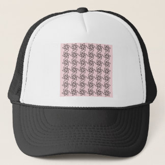 Curly Flower Pattern - Black on Pale Pink Trucker Hat
