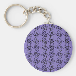 Curly Flower Pattern - Black on Ube Key Chains