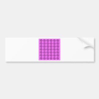 Curly Flower Pattern - Black on Ultra Pink Bumper Stickers