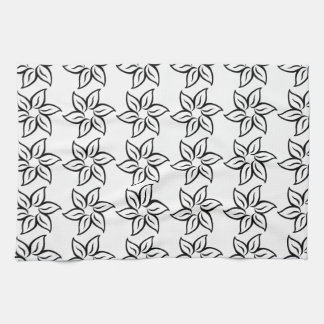 Curly Flower Pattern - Black on White Kitchen Towel