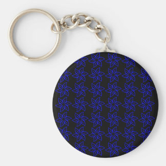 Curly Flower Pattern - Blue on Black Key Chains