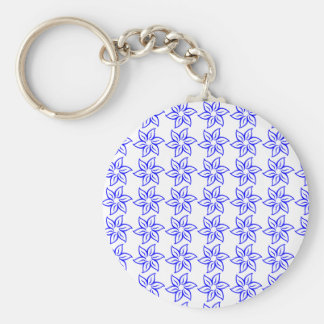 Curly Flower Pattern - Blue on White Key Chains