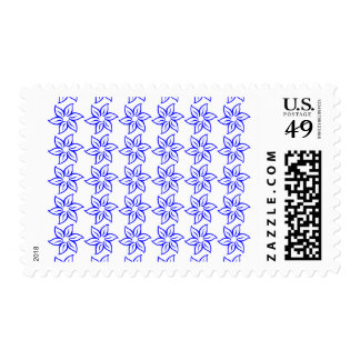 Curly Flower Pattern - Blue on White Stamps