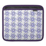 Curly Flower Pattern - Dark Blue on White Sleeve For iPads