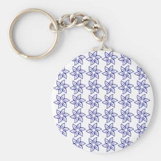Curly Flower Pattern - Dark Blue on White Key Chain
