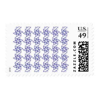 Curly Flower Pattern - Dark Blue on White Postage Stamps