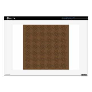 """Curly Flower Pattern – Dark Brown on Brown Decal For 15"""" Laptop"""