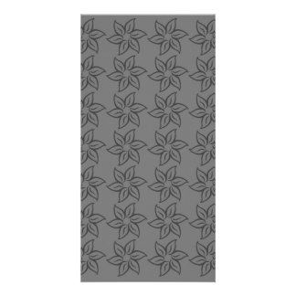 Curly Flower Pattern - Dark Gray on Gray Personalized Photo Card