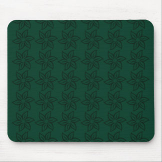 Curly Flower Pattern - Dark Green on Green Mouse Pad