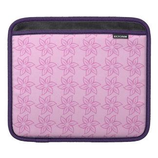 Curly Flower Pattern - Dark Pink on Pink iPad Sleeves