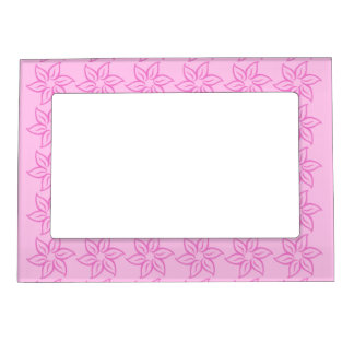Curly Flower Pattern - Dark Pink on Pink Magnetic Photo Frame