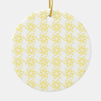 Curly Flower Pattern - Golden Yellow on White Double-Sided Ceramic Round Christmas Ornament