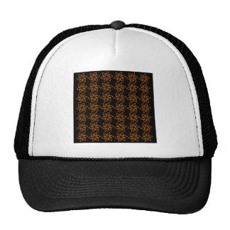Curly Flower Pattern - Orange on Black Mesh Hat