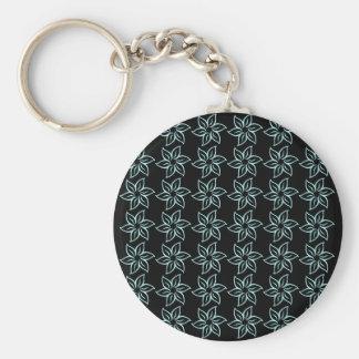 Curly Flower Pattern - Pale Blue on Black Key Chain