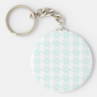 Curly Flower Pattern - Pale Blue on White Keychain