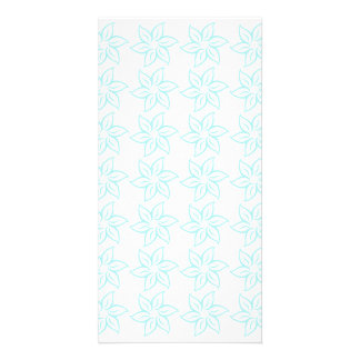 Curly Flower Pattern - Pale Blue on White Customized Photo Card