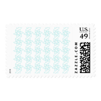 Curly Flower Pattern - Pale Blue on White Postage Stamps