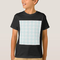 Curly Flower Pattern - Pale Blue on White T-Shirt