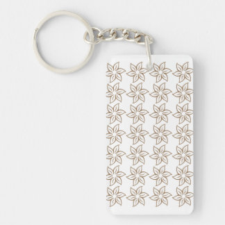 Curly Flower Pattern - Pale Brown on White Acrylic Keychains