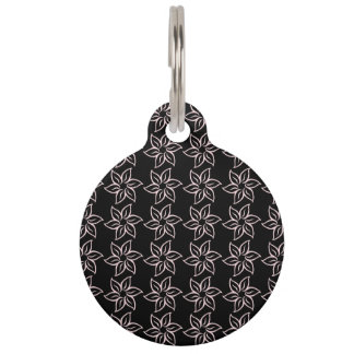 Curly Flower Pattern - Pale Pink on Black Pet Name Tag