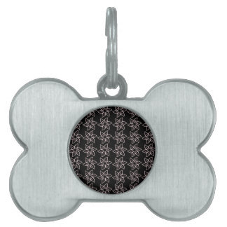 Curly Flower Pattern - Pale Pink on Black Pet ID Tags