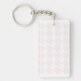 Curly Flower Pattern - Pale Pink on White Acrylic Keychains