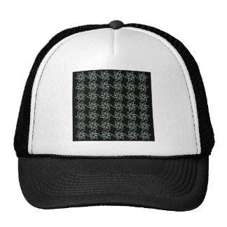 Curly Flower Pattern - Pastel Green on Black Mesh Hats