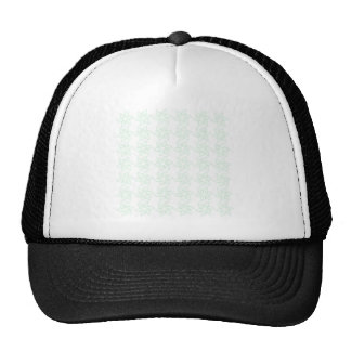 Curly Flower Pattern - Pastel Green on White Hats