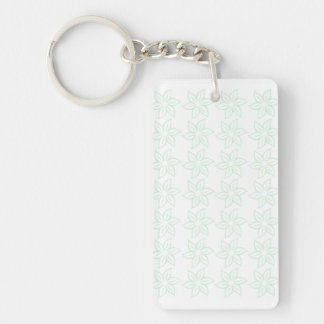 Curly Flower Pattern - Pastel Green on White Rectangular Acrylic Key Chains