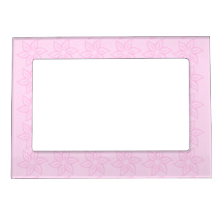 Curly Flower Pattern - Pink on Light Pink Magnetic Photo Frame