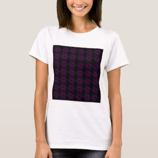 Curly Flower Pattern - Purple on Black T-Shirt