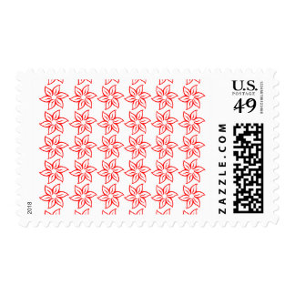 Curly Flower Pattern - Red on White Stamp