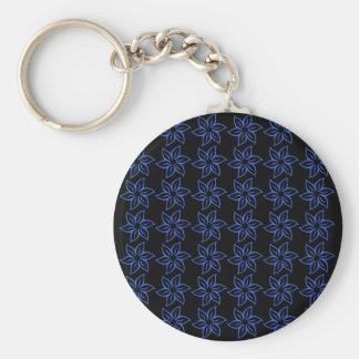 Curly Flower Pattern - Royal Blue on Black Keychain
