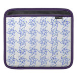 Curly Flower Pattern - Royal Blue on White iPad Sleeves