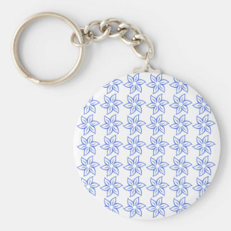 Curly Flower Pattern - Royal Blue on White Keychains